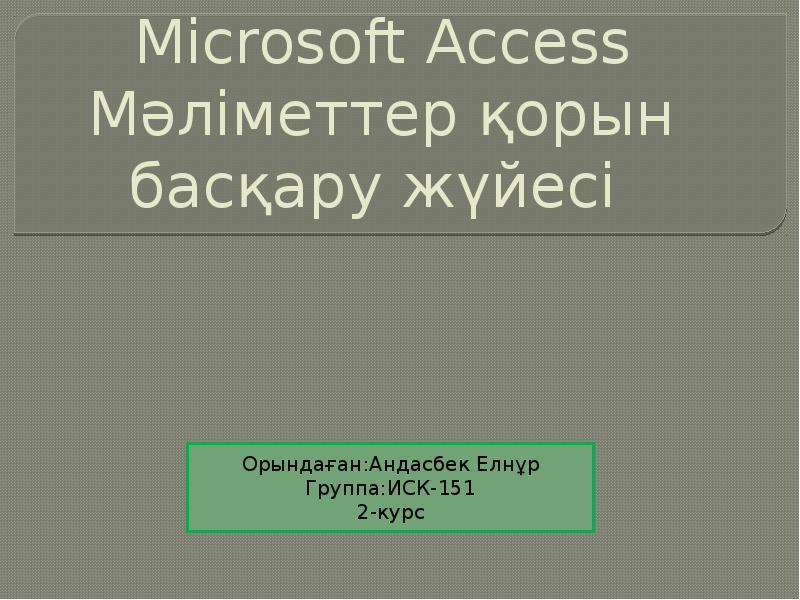 Microsoft Access Мәліметтер қорын басқару жүйесі