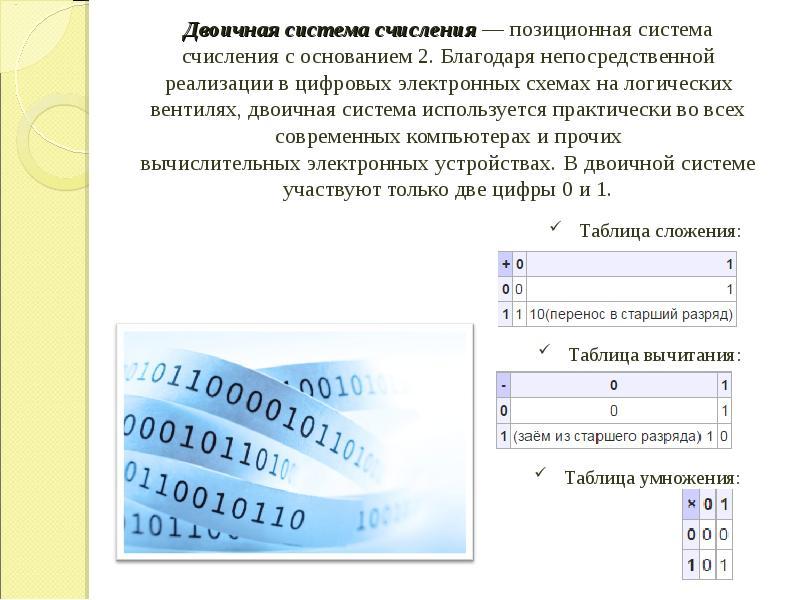 Двоичная система счисления — позиционная система счисления с основанием 2. Благодаря непосредственно