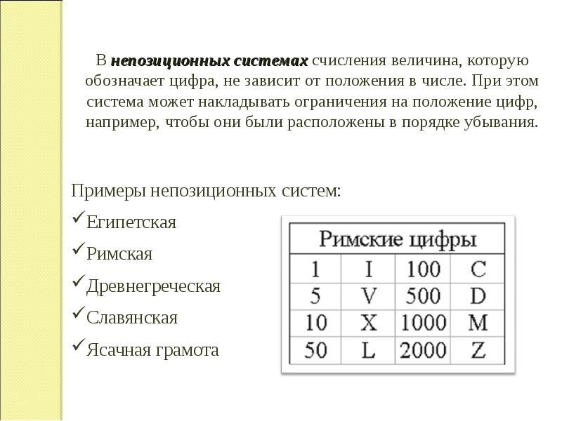 В непозиционных системах счисления величина, которую обозначает цифра, не зависит от положения в чис