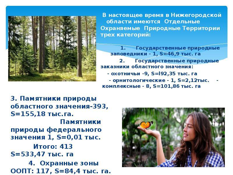В настоящее время в Нижегородской области имеются Отдельные Охраняемые Природные Территории трех кат