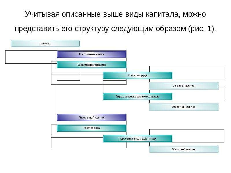 Учитывая описанные выше виды капитала, можно представить его структуру следующим образом (рис. 1).