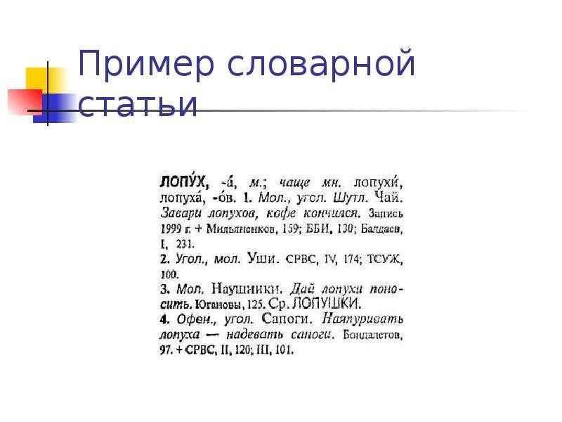 Пример словарной статьи