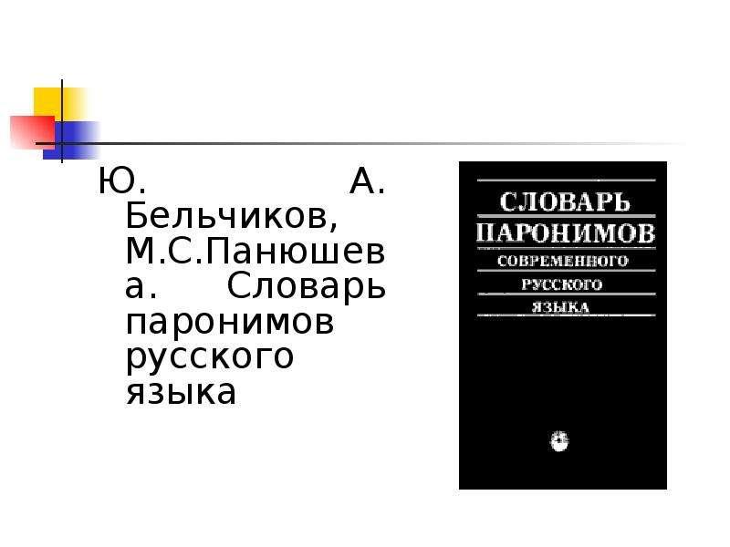 Ю. А. Бельчиков, М. С. Панюшева. Словарь паронимов русского языка