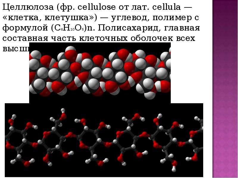 Целлюлоза (фр. cellulose от лат. cellula — «клетка, клетушка») — углевод, полимер с формулой (C6H10O
