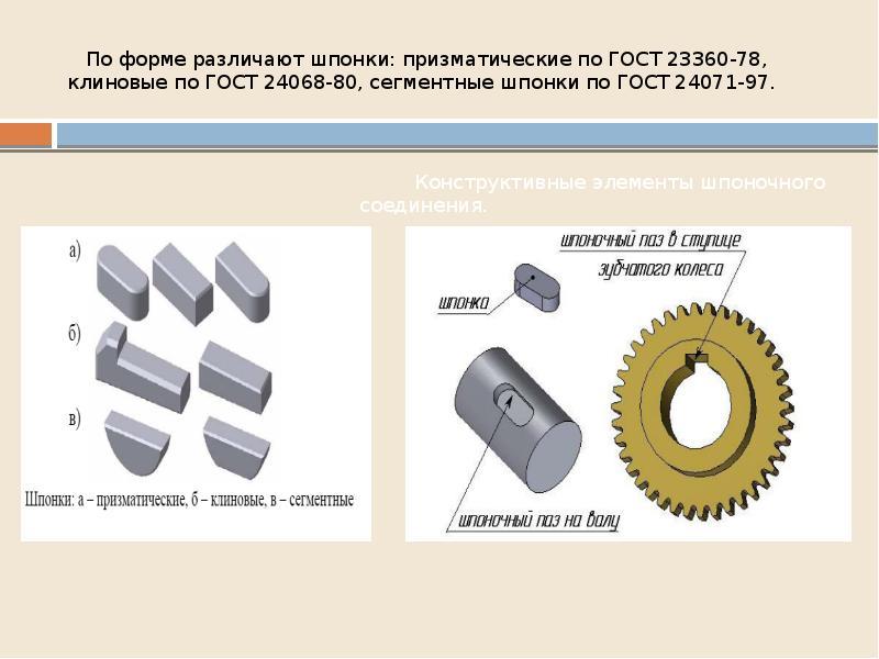 По форме различают шпонки: призматические по ГОСТ 23360-78, клиновые по ГОСТ 24068-80, сегментные шп