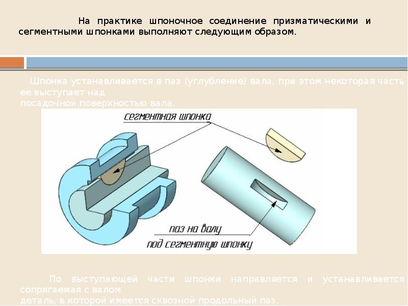 На практике шпоночное соединение призматическими и сегментными шпонками выполняют следующим образом.