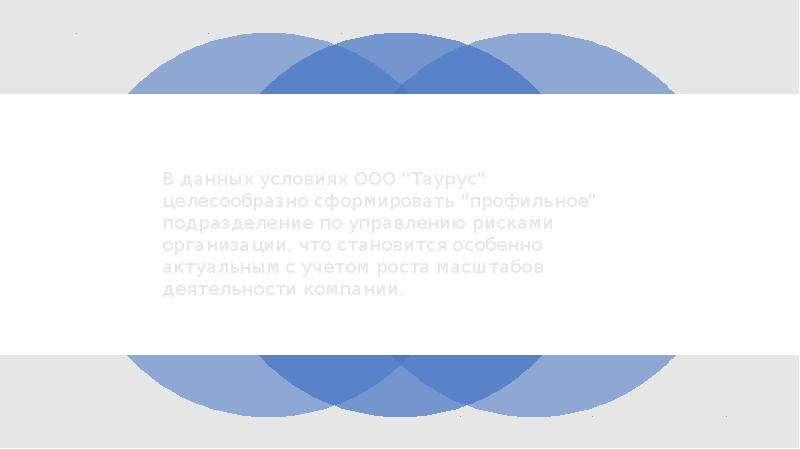 """В данных условиях ООО """"Таурус"""" целесообразно сформировать """"профильное"""" подраздел"""