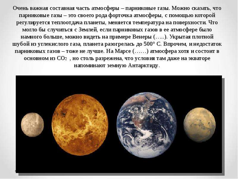 Очень важная составная часть атмосферы – парниковые газы. Можно сказать, что парниковые газы – это с