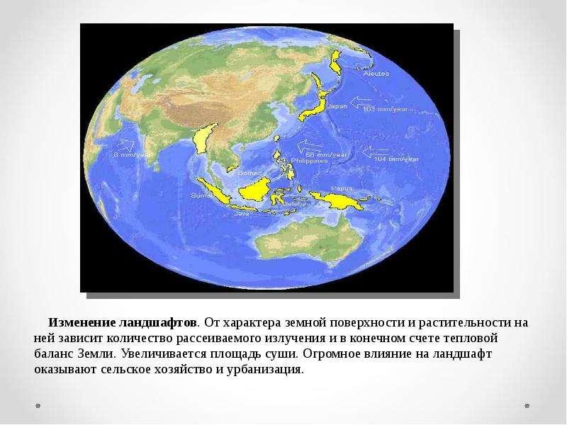 Изменение ландшафтов. От характера земной поверхности и растительности на ней зависит количество рас