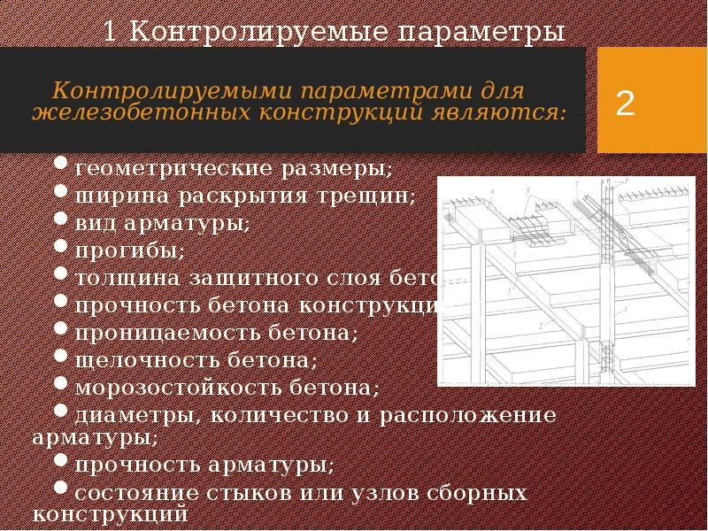 1 Контролируемые параметры Контролируемыми параметрами для железобетонных конструкций являются: геом