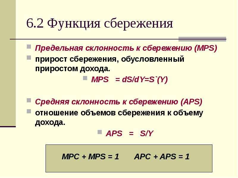 6. 2 Функция сбережения Предельная склонность к сбережению (MPS) прирост сбережения, обусловленный п