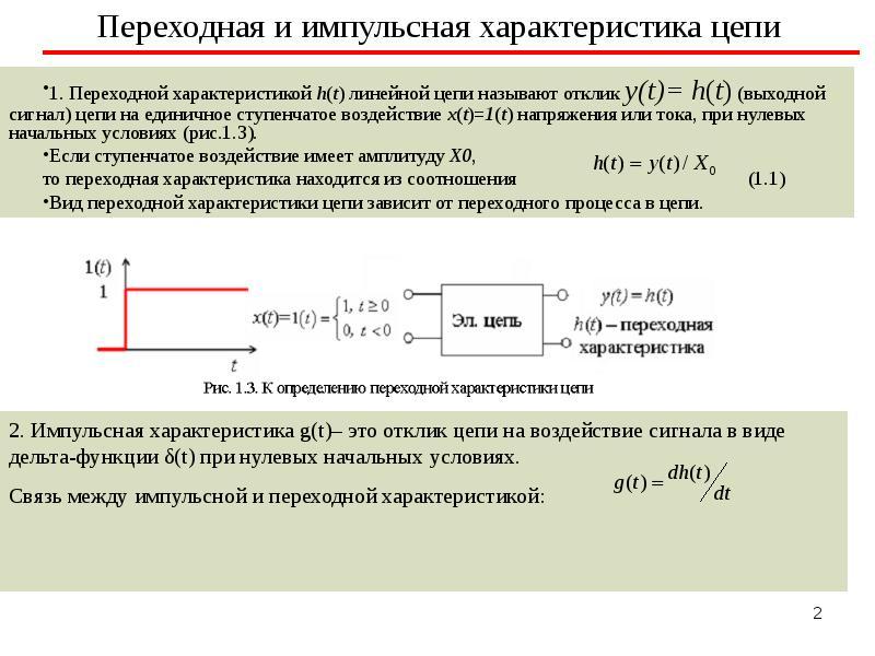 Переходная и импульсная характеристика цепи 1. Переходной характеристикой h(t) линейной цепи называю