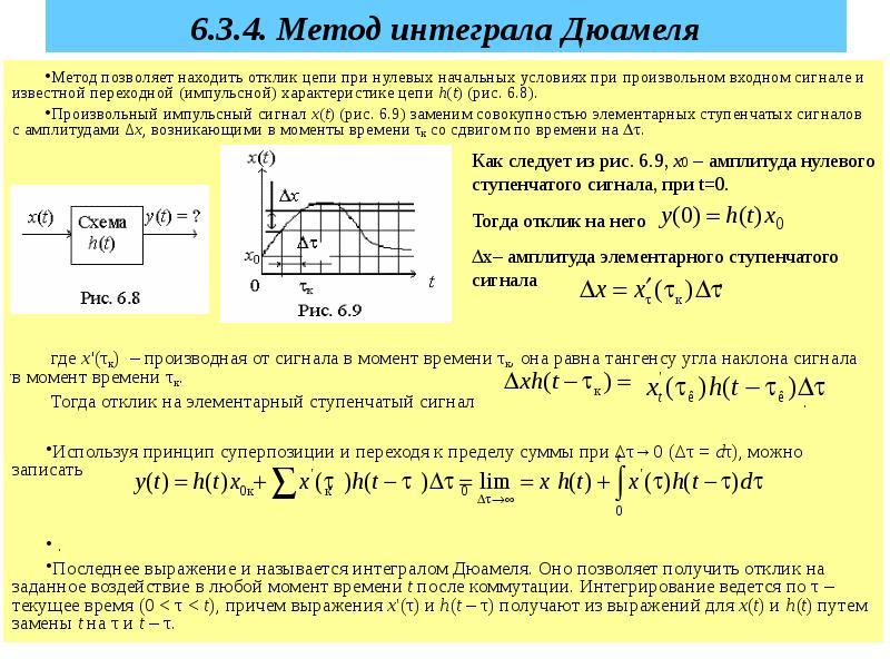 6. 3. 4. Метод интеграла Дюамеля Метод позволяет находить отклик цепи при нулевых начальных условиях