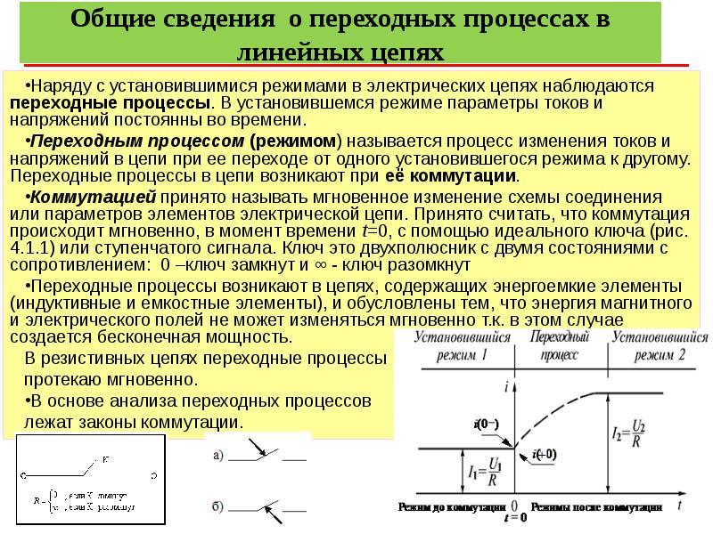 Общие сведения о переходных процессах в линейных цепях Наряду с установившимися режимами в электриче