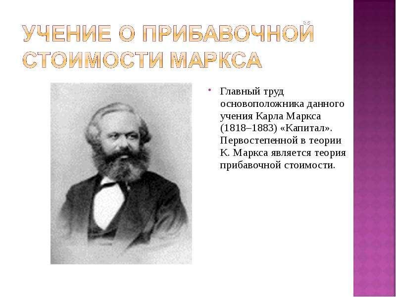 Главный труд основоположника данного учения Карла Маркса (1818–1883) «Капитал». Первостепенной в тео