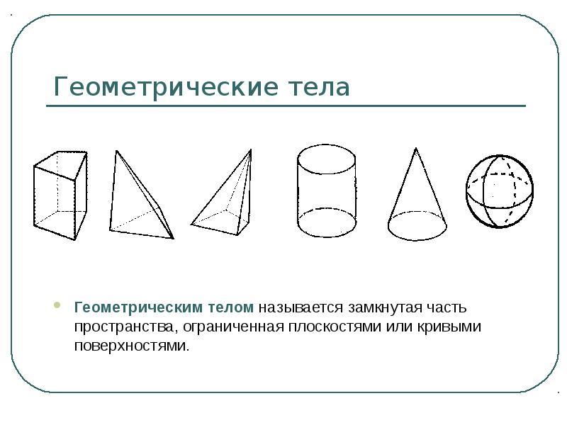 Геометрические тела Геометрическим телом называется замкнутая часть пространства, ограниченная плоск