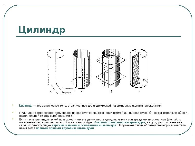 Цилиндр Цилиндр — геометрическое тело, ограниченное цилиндрической поверхностью и двумя плоскостями.