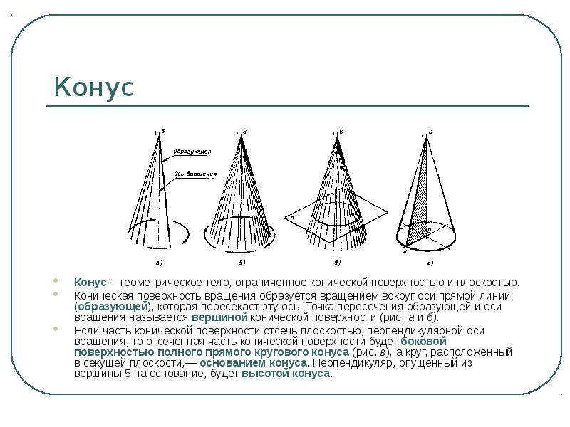 Конус Конус —геометрическое тело, ограниченное конической поверхностью и плоскостью. Коническая пове
