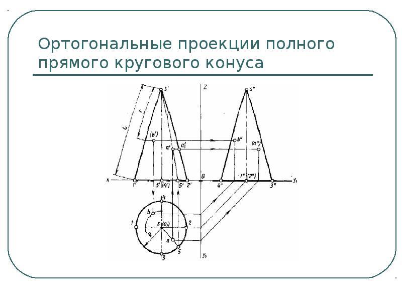 Ортогональные проекции полного прямого кругового конуса