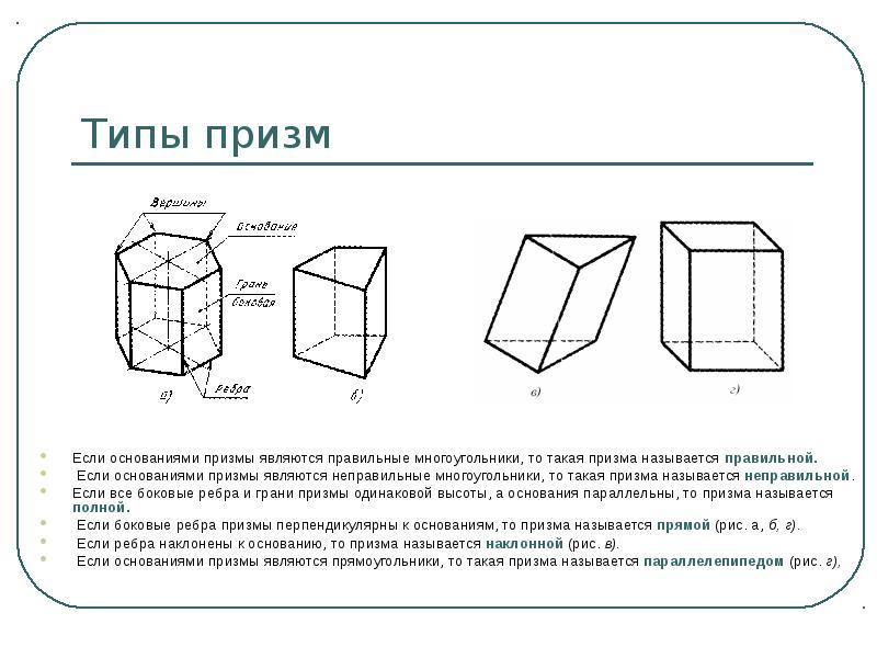 Типы призм Если основаниями призмы являются правильные многоугольники, то такая призма называется пр
