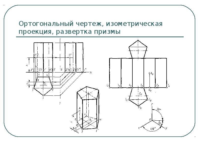 Ортогональный чертеж, изометрическая проекция, развертка призмы