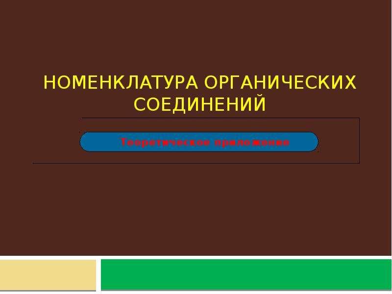 Презентация Номенклатура органических соединений