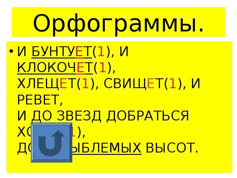 Орфограммы. И БУНТУЕТ(1), И КЛОКОЧЕТ(1), ХЛЕЩЕТ(1), СВИЩЕТ(1), И РЕВЕТ, И ДО ЗВЕЗД ДОБРАТЬСЯ ХОЧЕТ(1