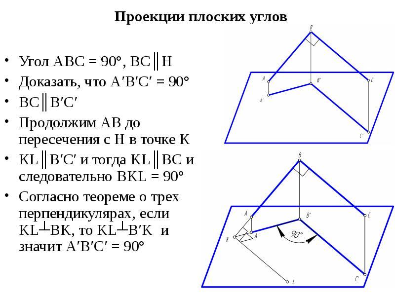Проекции плоских углов Угол АВС = 90°, ВС║Н Доказать, что А′В′С′ = 90° ВС║В′С′ Продолжим АВ до перес