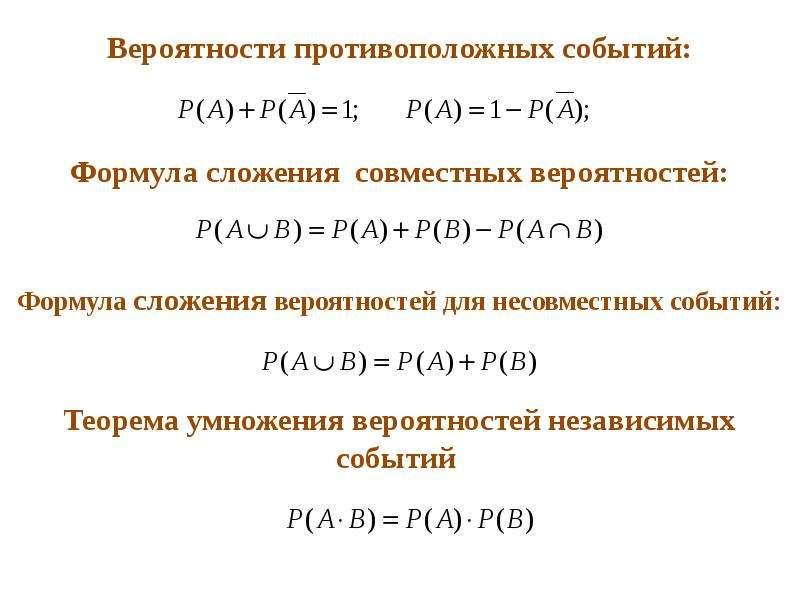 Теория вероятностей. Простейшие правила и формулы вычисления вероятностей, слайд 5
