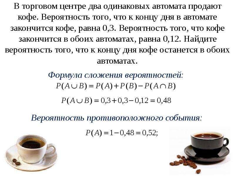 В торговом центре два одинаковых автомата продают кофе. Вероятность того, что к концу дня в автомате