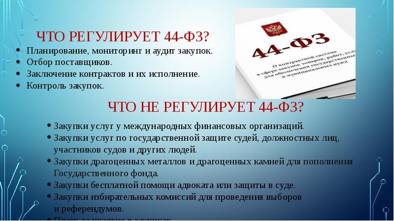 ЧТО РЕГУЛИРУЕТ 44-ФЗ?