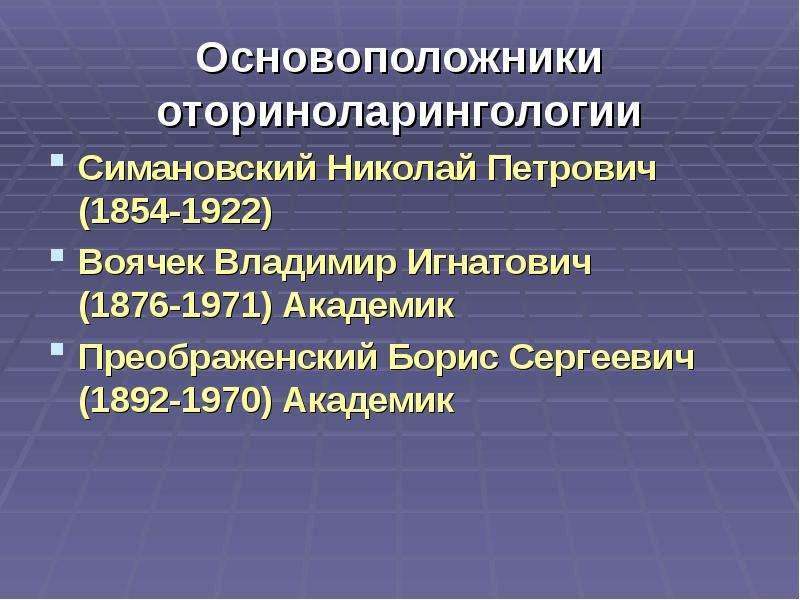 Основоположники оториноларингологии Симановский Николай Петрович (1854-1922) Воячек Владимир Игнатов