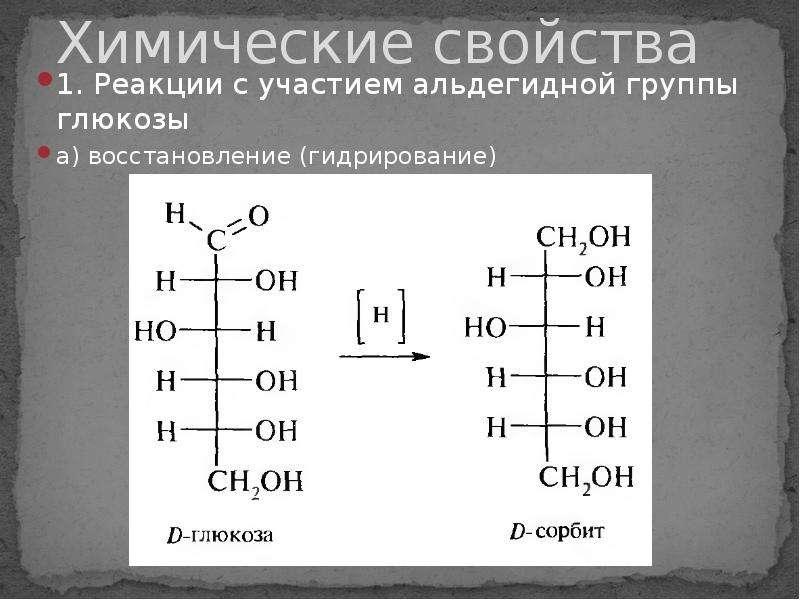 Химические свойства 1. Реакции с участием альдегидной группы глюкозы а) восстановление (гидрирование