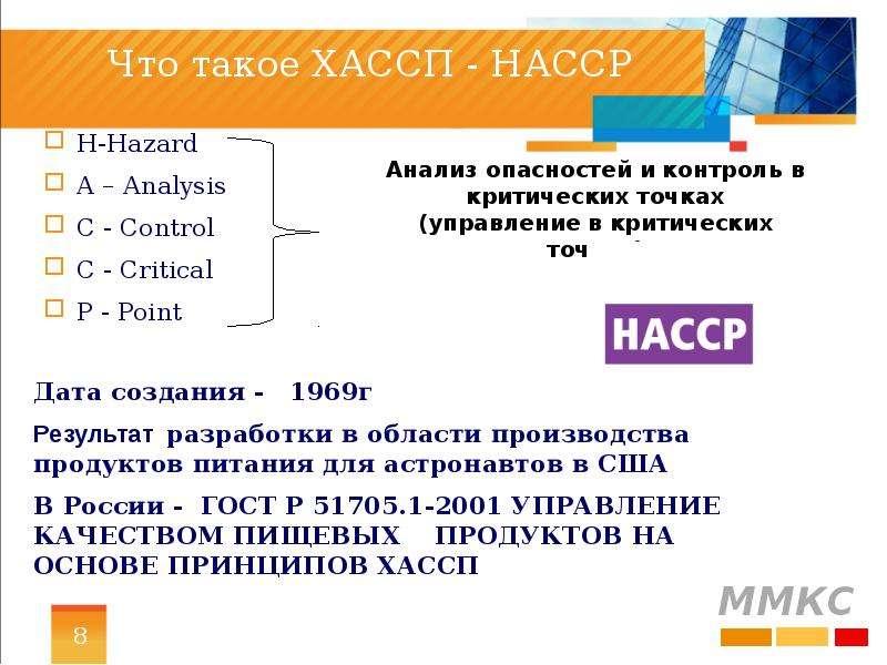 Что такое ХАССП - НАССP H-Hazard A – Analysis C - Control C - Critical P - Point
