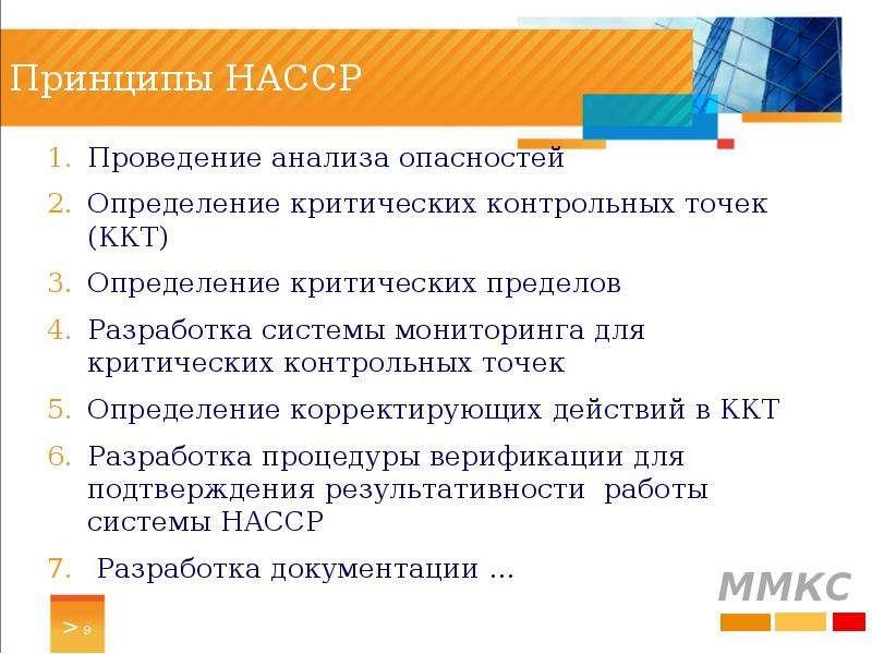 Принципы HACCP Проведение анализа опасностей Определение критических контрольных точек (ККТ) Определ