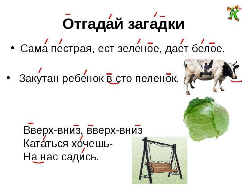 Отгадай загадки Сама пестрая, ест зеленое, дает белое.