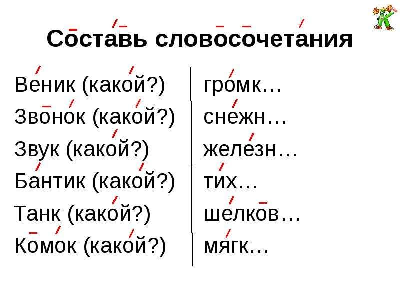 Составь словосочетания Веник (какой?) Звонок (какой?) Звук (какой?) Бантик (какой?) Танк (какой?) Ко
