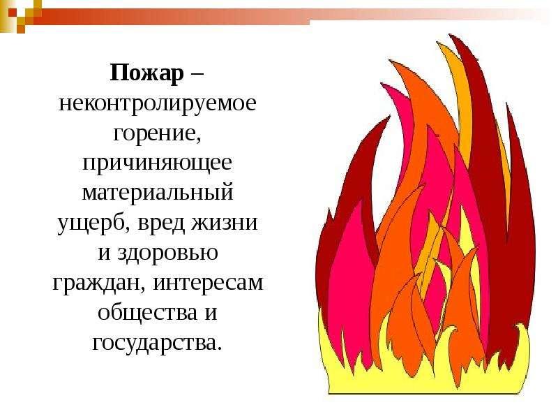 Пожар – неконтролируемое горение, причиняющее материальный ущерб, вред жизни и здоровью граждан, инт