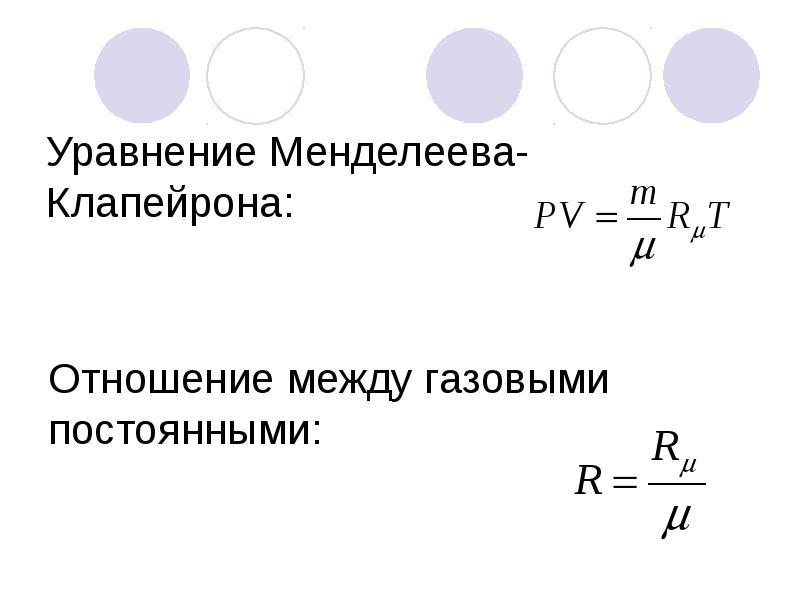 Уравнение Менделеева-Клапейрона: