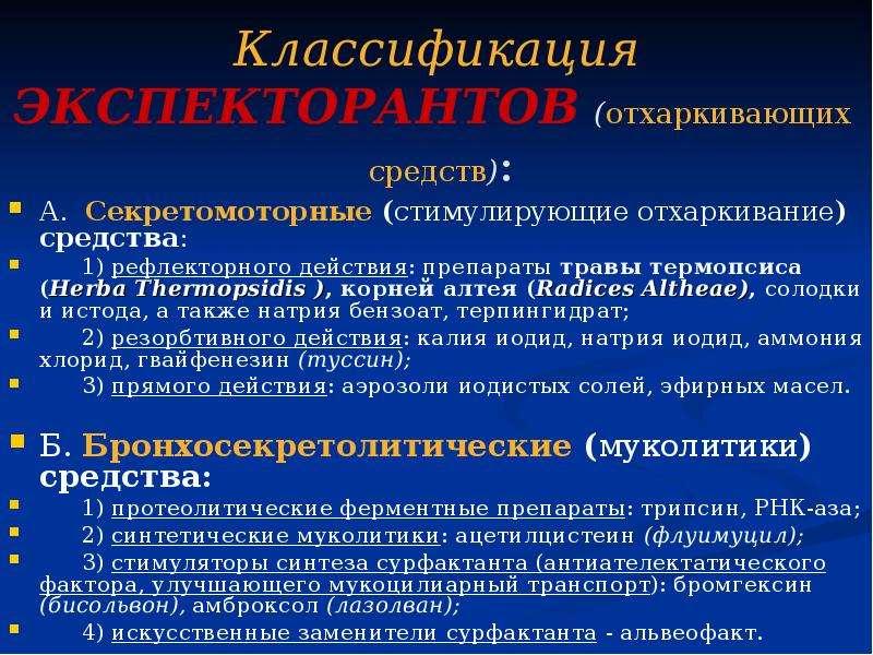 Классификация ЭКСПЕКТОРАНТОВ (отхаркивающих средств): А. Секретомоторные (стимулирующие отхаркивание