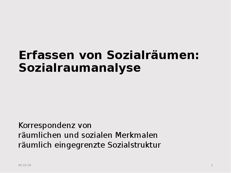 Erfassen von sozialräumen: sozialraumanalyse