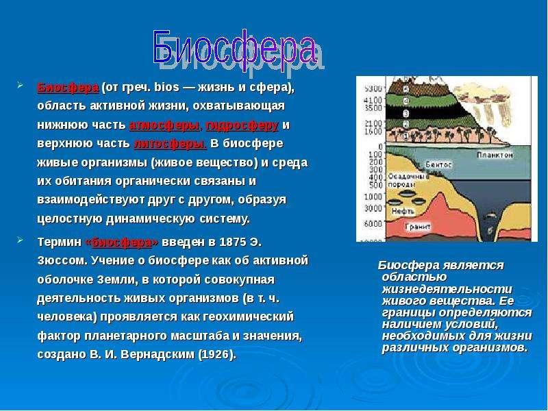 Биосфера (от греч. bios — жизнь и сфера), область активной жизни, охватывающая нижнюю часть атмосфер