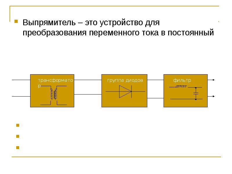 Выпрямитель – это устройство для преобразования переменного тока в постоянный Выпрямитель – это устр