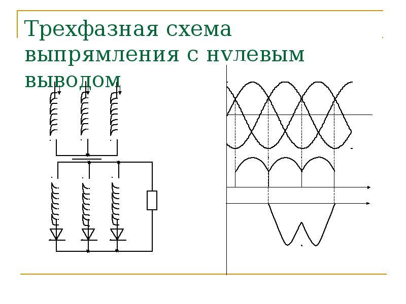 Трехфазная схема выпрямления с нулевым выводом