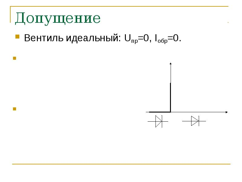 Допущение Вентиль идеальный: Uпр=0, Iобр=0.