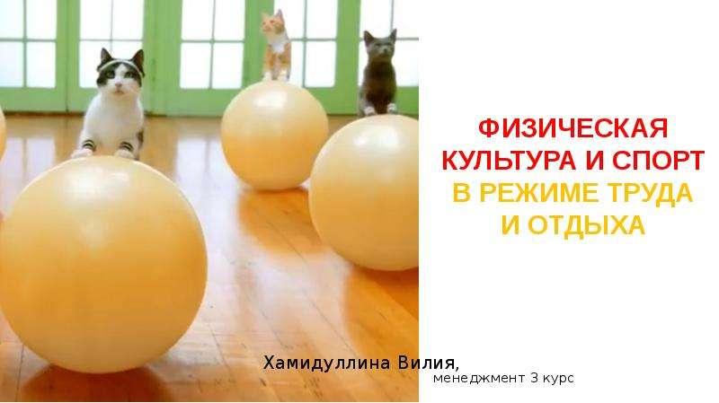 Презентация Физическая культура и спорт в режиме труда и отдыха