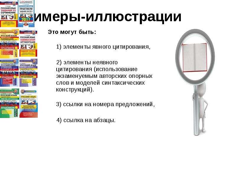 Примеры-иллюстрации Это могут быть: 1) элементы явного цитирования, 2) элементы неявного цитирования