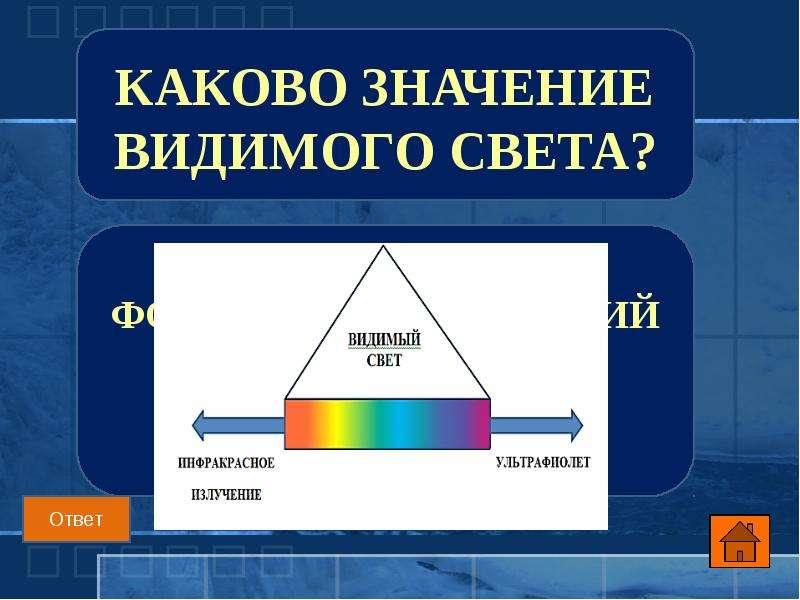Каково значение видимого света?