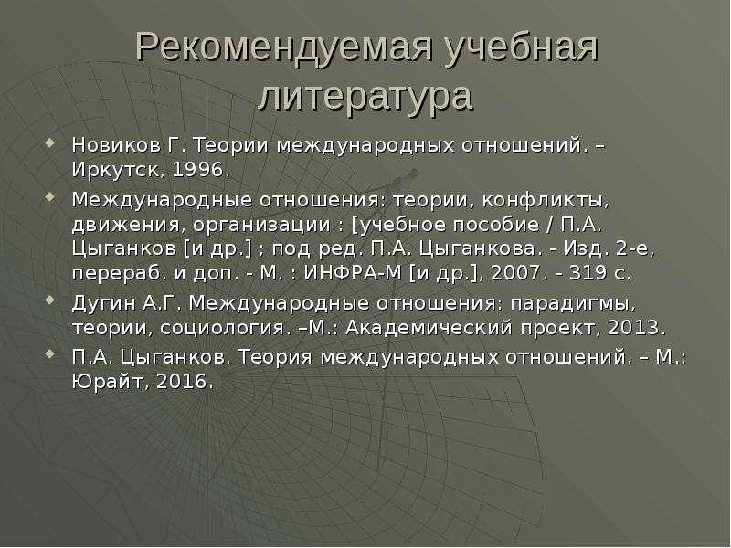 Рекомендуемая учебная литература Новиков Г. Теории международных отношений. – Иркутск, 1996. Междуна