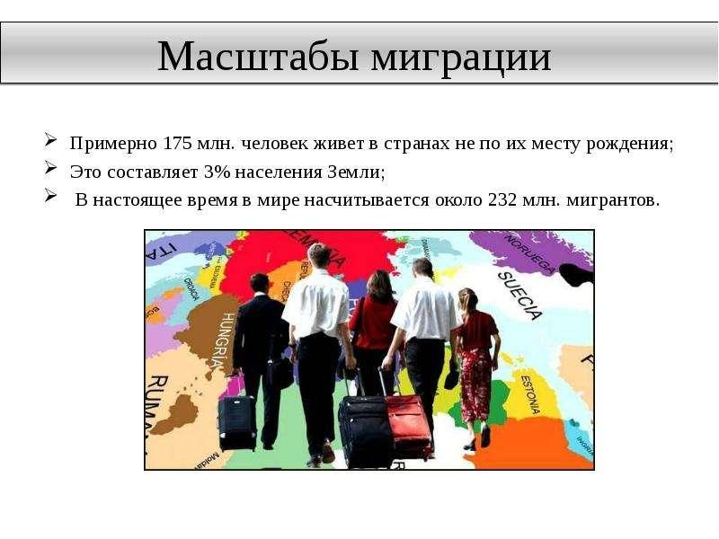 Масштабы миграции Примерно 175 млн. человек живет в странах не по их месту рождения; Это составляет